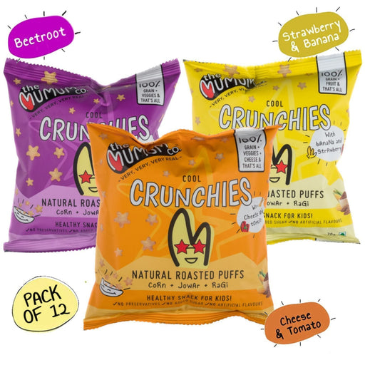 The Nestery : The Mumum Co. - Cool Crunchies - Combo - Cheese Tomato, Strawberry Banana, Beetroot - Pack Of 12 (20Gm X 12)