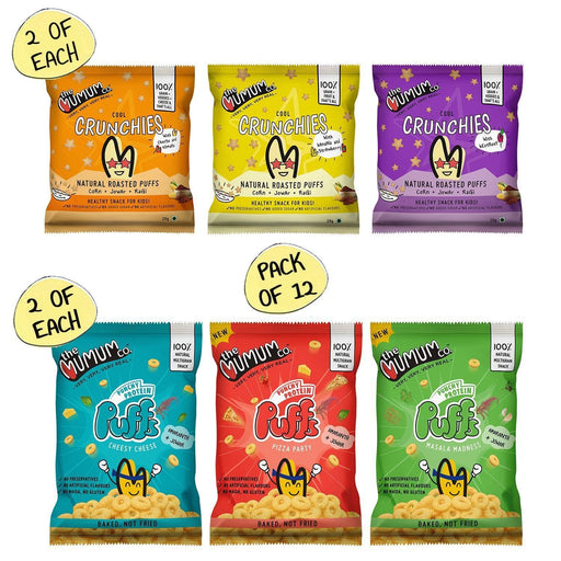 The Nestery : The Mumum Co. - Natural Multigrain Roasted Puffs Combo - Crunchies And Protien Puffs - Pack Of 12