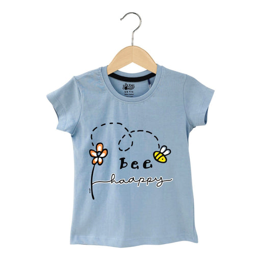 The Nestery : The Talking Canvas - Bee Happy Motivational T-Shirt - Blue