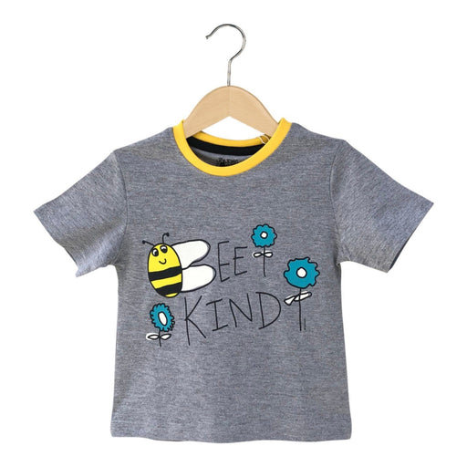 The Nestery : The Talking Canvas - Bee Kind Motivational T-Shirt - Grey Melange