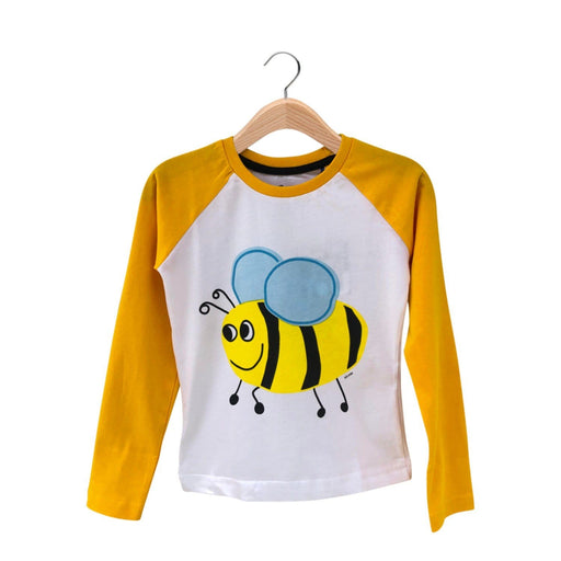 The Nestery : The Talking Canvas - Bumble Bee Contrast Full Sleeve T-Shirt - White And Yellow