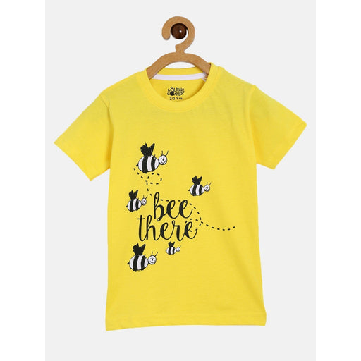 The Nestery : The Talking Canvas - Bumble Bee Yellow Half Sleeve T-Shirt -Yellow