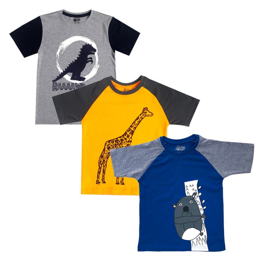 The Nestery : The Talking Canvas - Combo Pack Of 3 T-Shirts | Giraffe,Dinosaur,Fluffy Koala Prints - Multicolour
