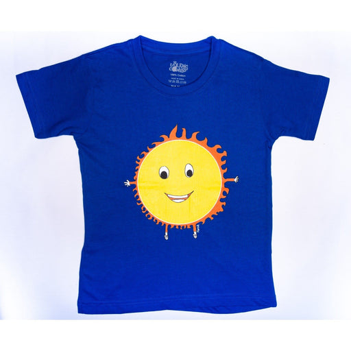 The Nestery : The Talking Canvas - Cool Sunshine Half Sleeve T-Shirt -Royal Blue