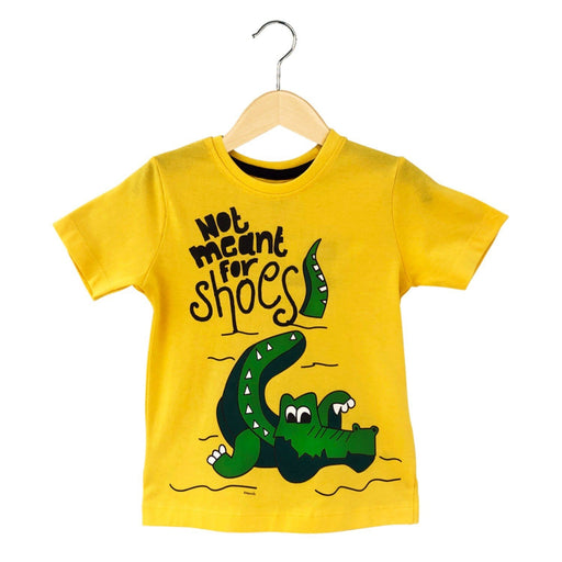 The Nestery : The Talking Canvas - Crocodile Quirky T-Shirt - Yellow