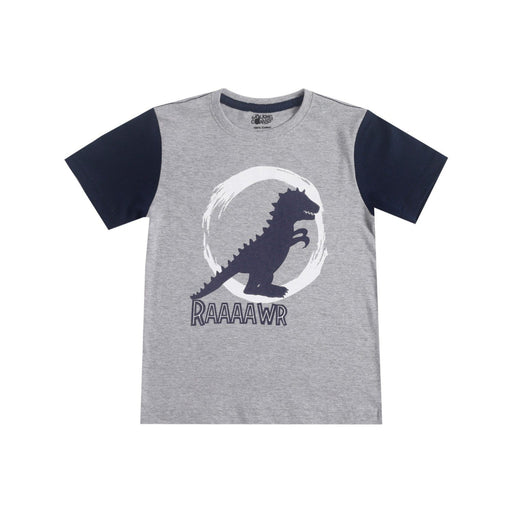 The Nestery : The Talking Canvas - Dinosaur Contrast Sleeve T-Shirt - Grey Melange