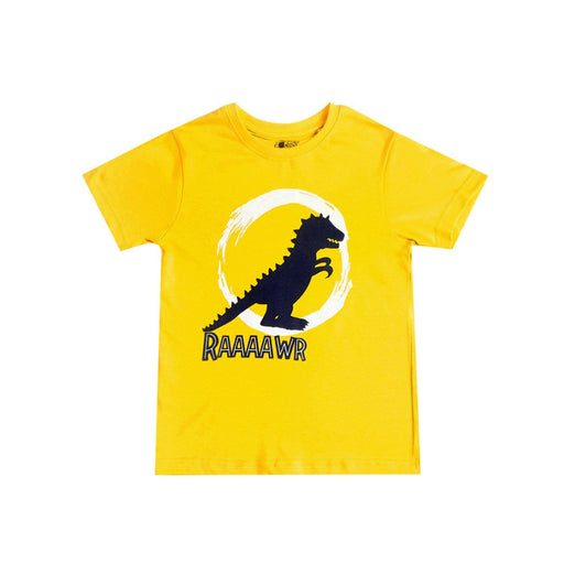 The Nestery : The Talking Canvas - Dinosaur Yellow Half Sleeve T-Shirt -Yellow