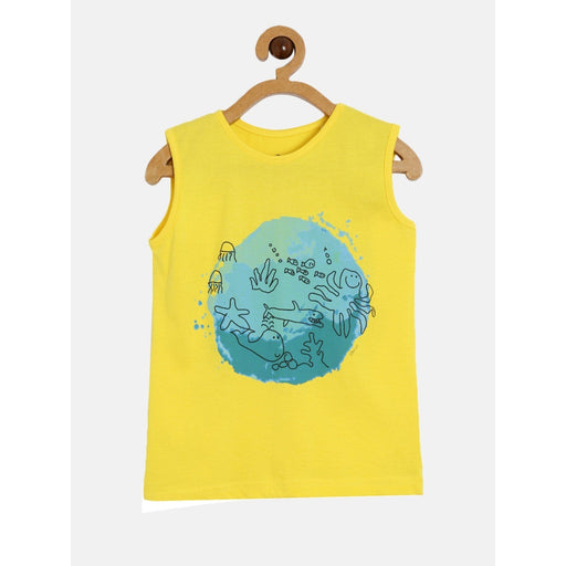 The Nestery : The Talking Canvas - Fish World Boys Sleeveless T-Shirt - Yellow