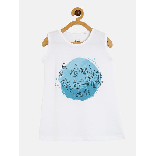 The Nestery : The Talking Canvas - Fish World - White Sleeveless Top