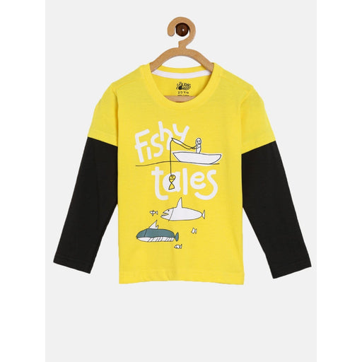 The Nestery : The Talking Canvas - Fishy Tales - Full Sleeve Cotton T-Shirt - Yellow