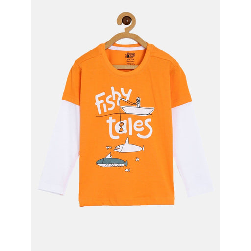 The Nestery : The Talking Canvas - Fishy Tales - Kids Full Sleeve Cotton T-Shirt - Orange