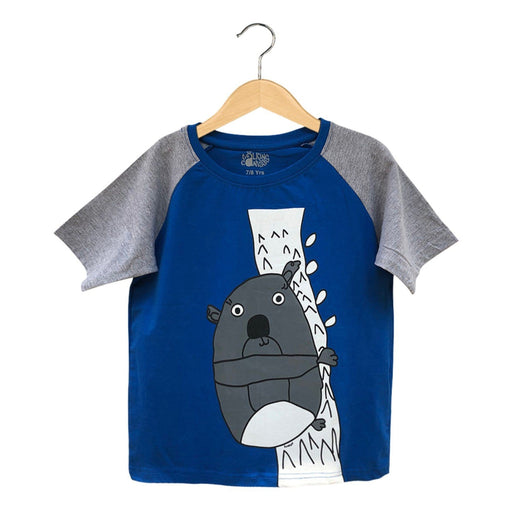 The Nestery : The Talking Canvas - Fluffy Koala Raglan Sleeve T-Shirt For Kids - Blue