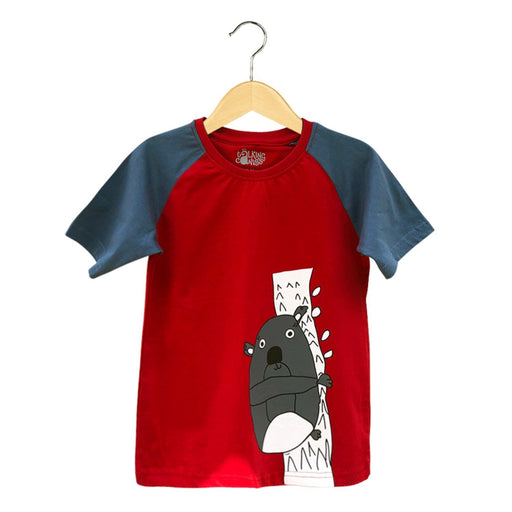 The Nestery : The Talking Canvas - Fluffy Koala Raglan Sleeve T-Shirt - Red