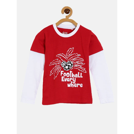 The Nestery : The Talking Canvas - Football Everywhere Full Sleeve T-Shirt - Red