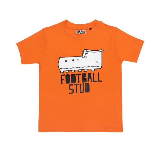 The Nestery : The Talking Canvas - Football Stud  Cotton T-Shirt Orange