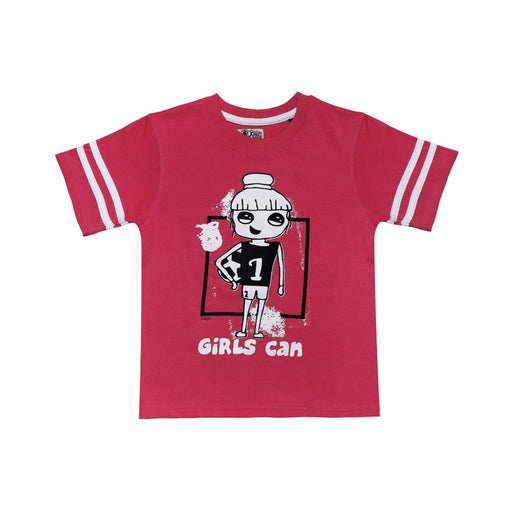 The Nestery : The Talking Canvas - Girls Can Regular T-Shirt - Pink