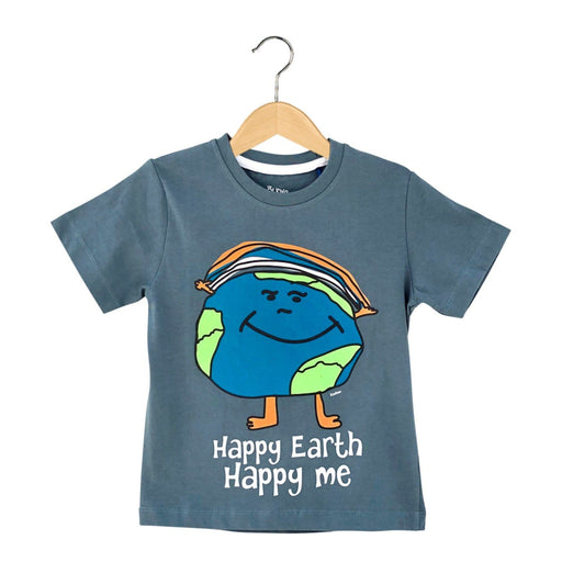 The Nestery : The Talking Canvas - Happy Earth Happy Me Regular T-Shirt - Grey
