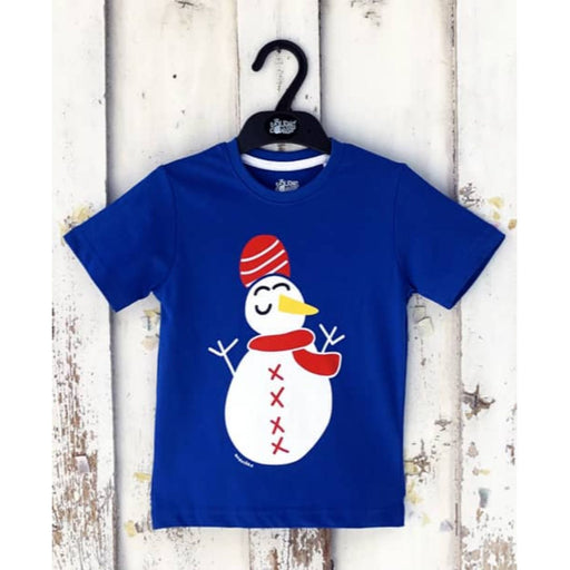 The Nestery : The Talking Canvas - Indian Snowman Blue Christmas T-Shirt