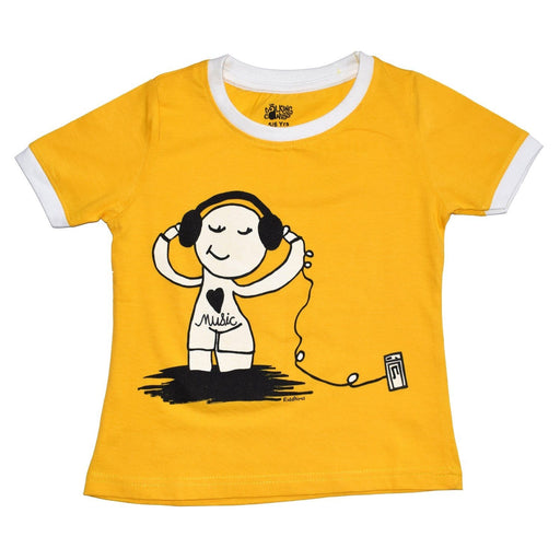 The Nestery : The Talking Canvas - Music Lover - Girl'S Crop Top - Yellow