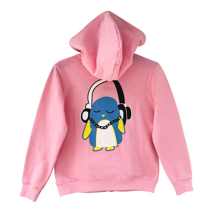 The Nestery : The Talking Canvas - Music Penguin Hoodie - Pink