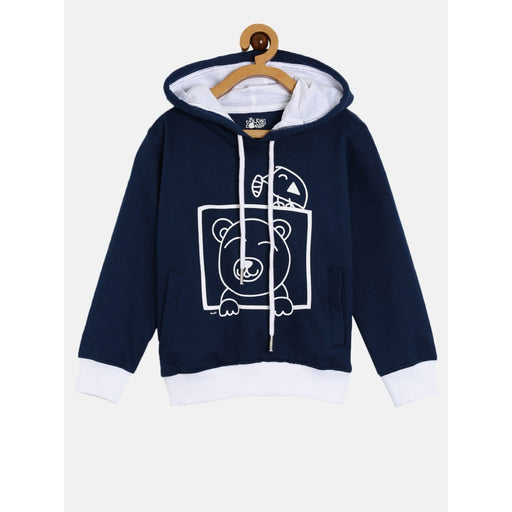 The Nestery : The Talking Canvas - Peak-A-Boo Bear  Hoodie - Navy Blue