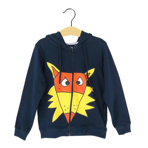 The Nestery : The Talking Canvas - Quirky Fox Hoodie - Navy Blue