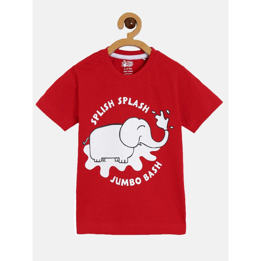 The Nestery : The Talking Canvas - Splish Splash Elephant Red Half Sleeve T-Shirt - Red