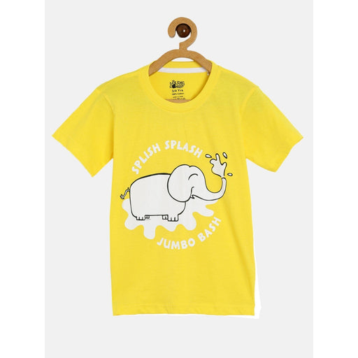 The Nestery : The Talking Canvas - Splish Splash Elephant Yellow Half Sleeve T-Shirt - Yellow
