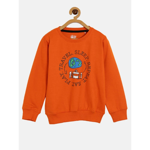 The Nestery : The Talking Canvas - Travel On Repeat Sweatshirt - Orange