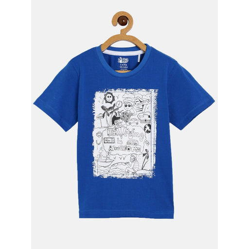 The Nestery : The Talking Canvas - Travelling Is Awesome Half Sleeve T-Shirt- Blue