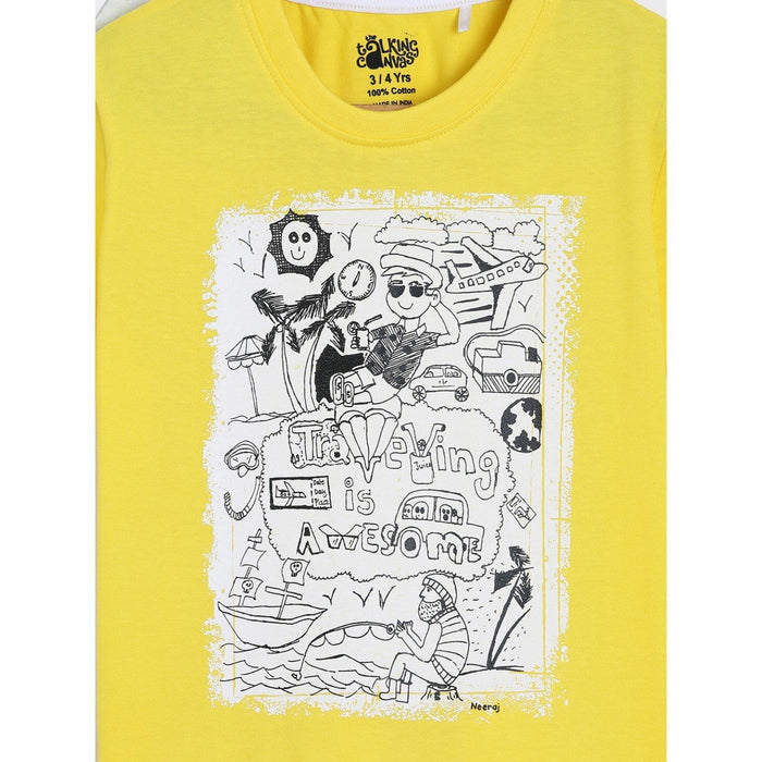 The Nestery : The Talking Canvas - Travelling Is Awesome Half Sleeve T-Shirt - Yellow