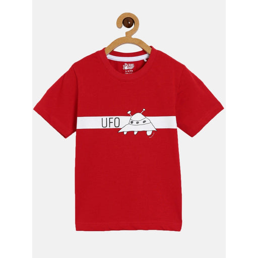 The Nestery : The Talking Canvas - Ufo Half Sleeve Regular T-Shirt-Red