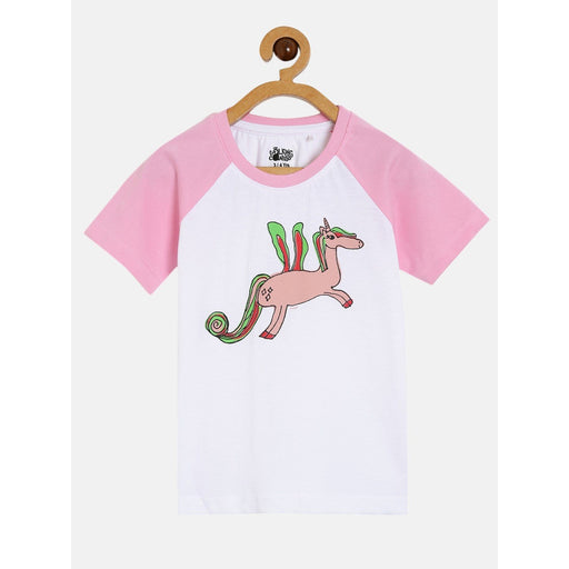The Nestery : The Talking Canvas - Unicorn Raglan T-Shirt - White And Pink
