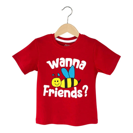 The Nestery : The Talking Canvas - Wanna Bee Friends T-Shirt -Red