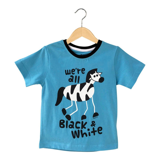 The Nestery : The Talking Canvas - We'Re All Black And White Zebra T-Shirt - Blue