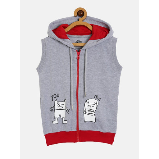 The Nestery : The Talking Canvas - You-Me Boys Sleeveless Hoodie - Grey