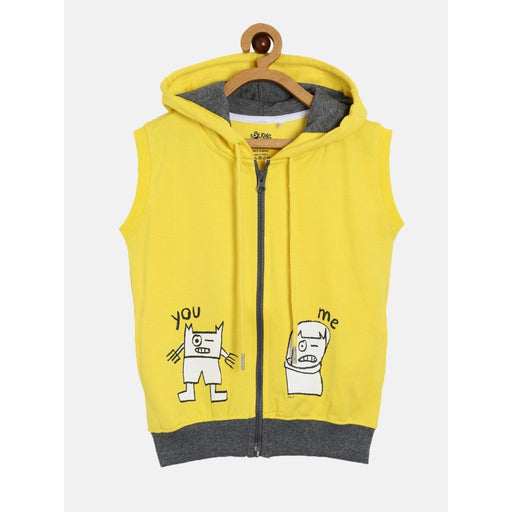 The Nestery : The Talking Canvas - You-Me Boys Sleeveless Hoodie - Yellow