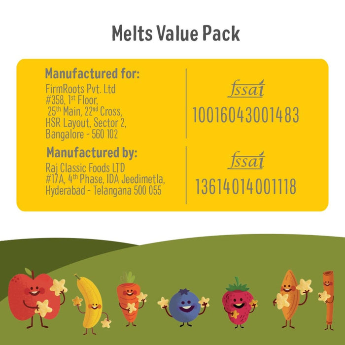 Melts Value Pack (Carrot & Cumin+Apple & Cinnamon+Banana & Strawberry+Blueberry) Pack Of 4 - 50 gm Each