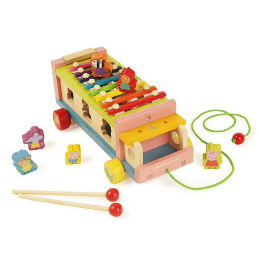 The Nestery: Shumee - Peppa And Friends Wooden 3-In-1 Pull-Along Musical Animal Toys Sorting Truck