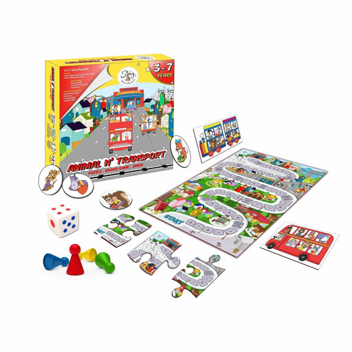 ANIMAL N' TRANSPORT PUZZLE, BOARD GAME AND BINGO