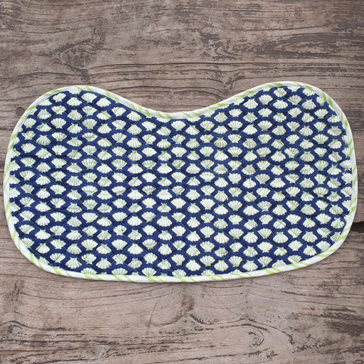 The Nestery : Welobaby - Burpcloth - Blue Shells And Green Stripes