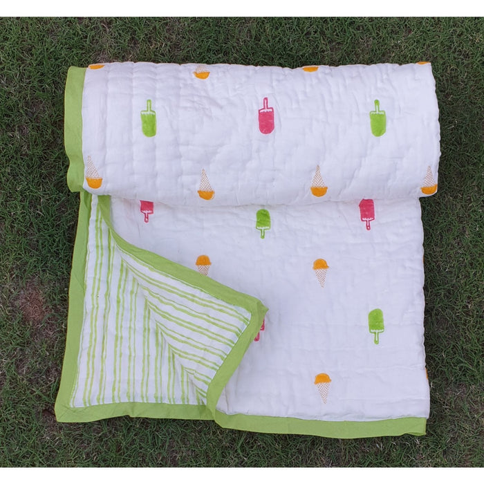 The Nestery : Welobaby - Organic Cotton Quilt - Green
