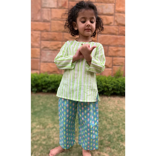 The Nestery : Welobaby - PJ Set - Green Stripes And Blue Popsicle