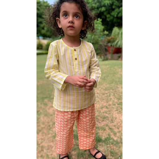 The Nestery : Welobaby - PJ Set - Yellow Stripes And Pink Shells