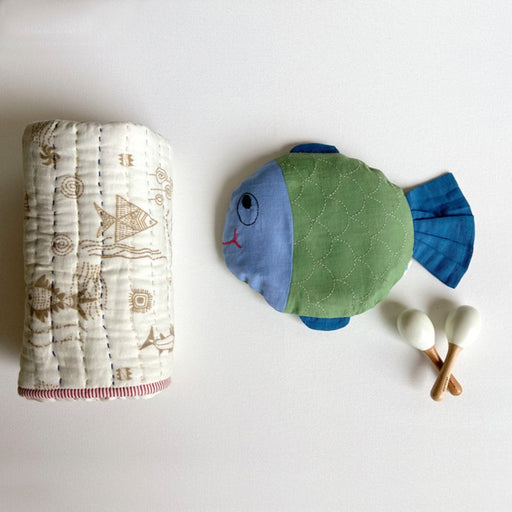 The Nestery : Whitewater Kids - Newborn Gift Set - Mustard Seeds Pillow, Recieving Blanket & Maracus
