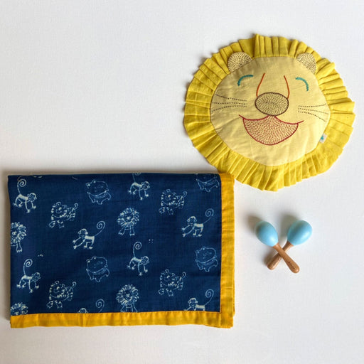 The Nestery : Whitewater Kids - Organic Gift Set - Blanket + Mustard Seed Pillow + Maracas - Zoo