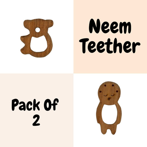 The Nestery : Wufiy - Bear And Baby - Teether Combo + Cotton Bag