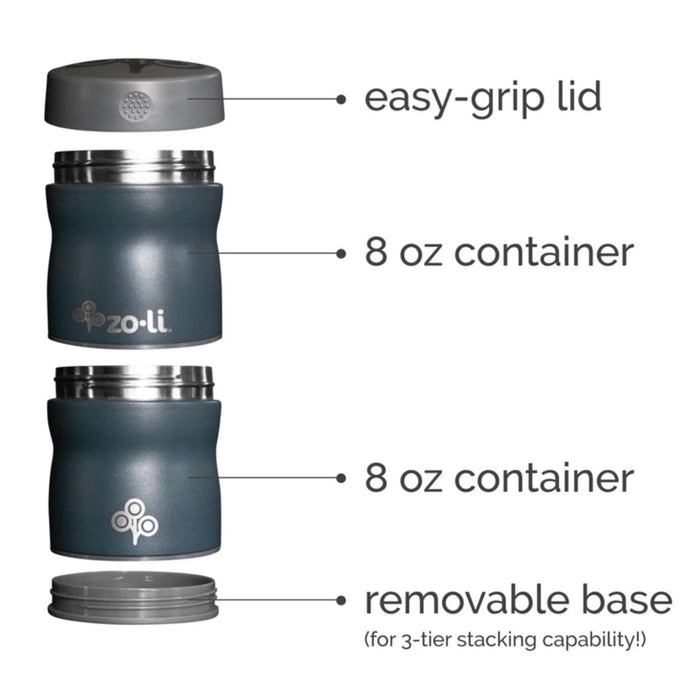 The Nestery: Zoli Usa - Pow This & That Stackable Stainless Steel Insulated Food Jar- Grey - 235 Ml