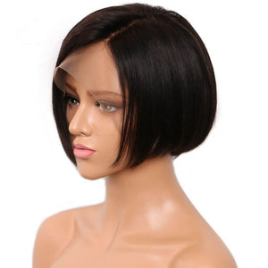 13X4 T Part Lace Frontal Wig Short Blunt Cut Pixie01 Silky Straight