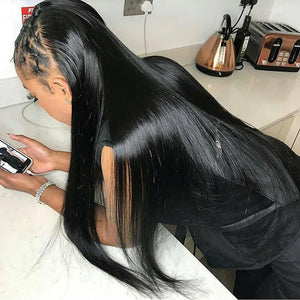 Glueless Pre-Made Fake Scalp 13x6 Lace Front Wigs  Straight Invisible Knots